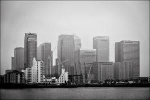 Canary Wharf in an atmospheric haze