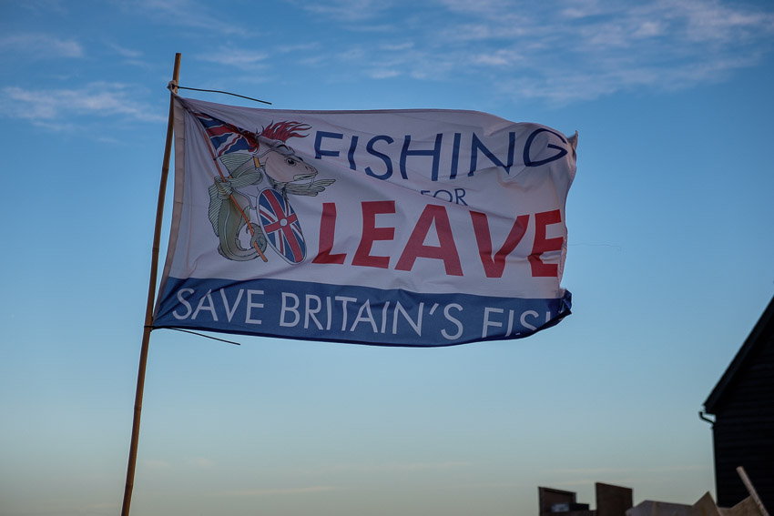 A flag supporting the Brexit Leave campaign.