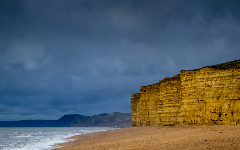 The cliffs at Burton Bradstock glowing in the winter sun