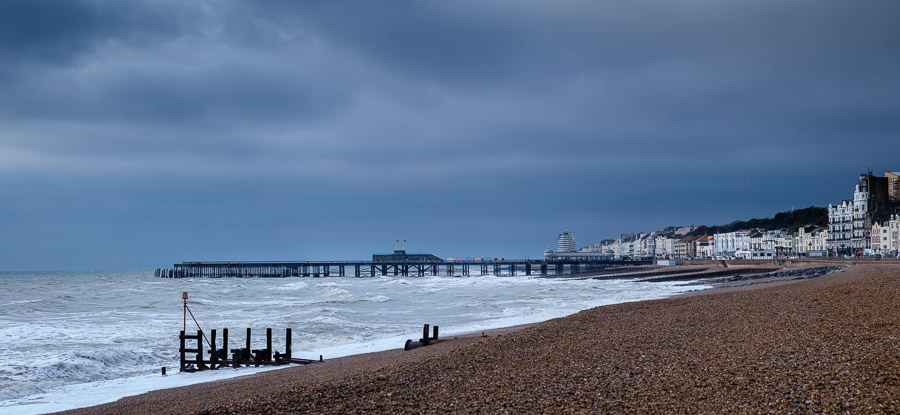 Hastings Pier with a storm drain outlet in the foreground