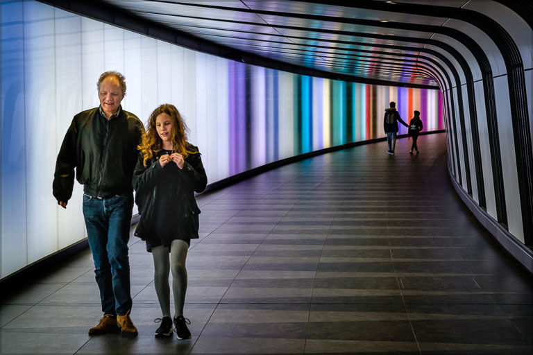 "Figures in the subway at King's Cross station in the image ""Pairings"""